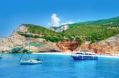 Lefkada Greece. Beautiful landscape in Lefkada island, Beach and sea shore in summer holiday, Greece Royalty Free Stock Image