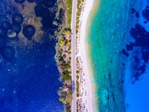 Lefkada Greece hidden beach near Lefkas Town. Aerial view royalty free stock photo
