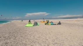 LEFKADA, GREECE, JUNE 27, 2017, AGIOS IOANNIS, Kitesurfers on the beautiful Agios Ioannis in Gira beach stock video footage