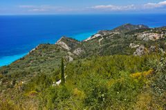 Lefkada island Landscape with forest and Ionian sea Royalty Free Stock Image