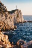 Lefkada latarni morskiej przylądek Lefkata przy zmierzchem zdjęcia stock