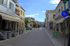 Lefkada main commercial street,Greece Royalty Free Stock Photos