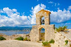 Lefkada miasteczko jak widzieć od Lefkada Forteczny Santa Maura, Aga - Obrazy Stock