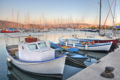Lefkada Port. In Greece, surprised at sunset, with a beautiful sky in the background royalty free stock photos