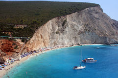 Lefkada, Porto Katsiki. Listed in top 10 of 100 best beaches in the world, Porto Katsiki is located in the west coastline of Lefkada island in Greece. The stock photography