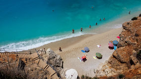 Lefkada stairs to Porto Katsiki Beach Stock Images