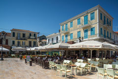 LEFKADA TOWN, GREECE JULY 17, 2014: Central street in Lefkada town, Greece Stock Photography