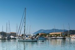 LEFKADA TOWN, GREECE JULY 17, 2014: yacht harbor at Lefkada town, Greece Royalty Free Stock Photography
