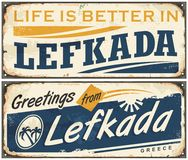 Lefkada vintage tin sign Royalty Free Stock Photo