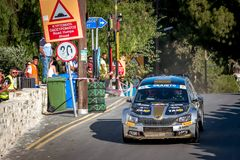 LEFKARA, CYPRUS - JUNE 17, 2018: Special stage of Cyprus Rally 2018 Stock Photography