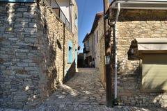 Lefkara, Cyprus - November 2. 2018. Narrow streets in the highland ancient village stock images