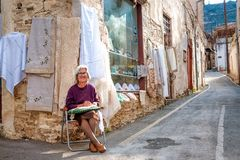 LEFKARA, CYPRUS - OCTOBER 15, 2011: Shop of traditional embroideries in Lefkara Stock Images