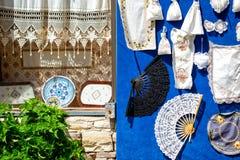 Lefkaritika of Lefkara-Kant, traditioneel borduurwerk in Pano Lefk stock fotografie
