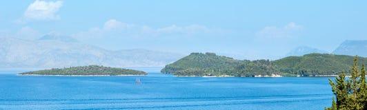 Lefkas-Küstenliniensommerpanorama (Griechenland) Stockfotografie