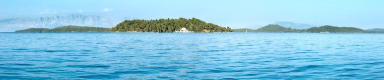 Lefkas-Küstensommerpanorama (Griechenland) Stockfotos