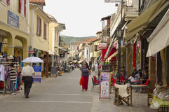 Lefkas shopping street Stock Photography
