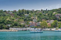 Panoramic view of Lefkes town, Kefalonia, Ionian islands, Greece. LEFKES, KEFALONIA, GREECE - MAY 26, 2015: Amazing panoramic view of Lefkes town, Kefalonia Stock Images