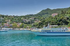 Panoramic view of Lefkes town, Kefalonia, Ionian islands, Greece. LEFKES, KEFALONIA, GREECE - MAY 26, 2015: Amazing panoramic view of Lefkes town, Kefalonia Royalty Free Stock Image