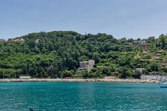 Panoramic view of Lefkes town, Kefalonia, Ionian islands, Greece. LEFKES, KEFALONIA, GREECE - MAY 26, 2015: Amazing panoramic view of Lefkes town, Kefalonia Royalty Free Stock Photos