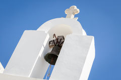 Lefkes village, Paros, Greece. Detail of a bell tower in Lefkes in Paros island, Greece Stock Image