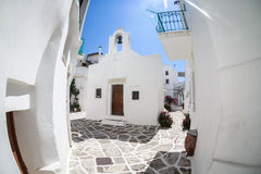 Lefkes village, Paros, Greece. White greek church in the village of Lefkes in Paros island, Greece Royalty Free Stock Photography
