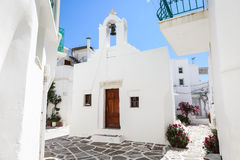 Lefkes village, Paros, Greece. White greek church in the village of Lefkes in Paros island, Greece Stock Image