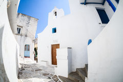 Lefkes village, Paros, Greece. White greek church in the village of Lefkes in Paros island, Greece Royalty Free Stock Images