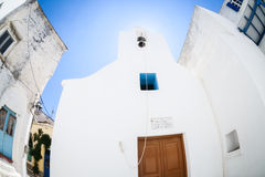 Lefkes village, Paros, Greece. White greek church in the village of Lefkes in Paros island, Greece Stock Photos