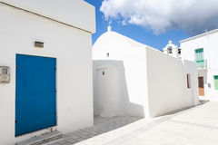 Lefkes village, Paros, Greece. White greek church in the village of Lefkes in Paros island, Greece Royalty Free Stock Image
