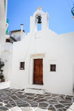 Lefkes village, Paros, Greece. White greek church in the village of Lefkes in Paros island, Greece Stock Photo