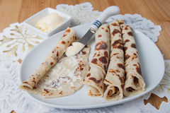 Lefse rolled on a plate Stock Images