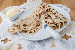 Lefse served on a plate Royalty Free Stock Photo