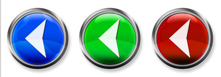 Left Arrow 3-D RGB Button. Blue, Green and Red 3-D circle web buttons with steel border Royalty Free Stock Image