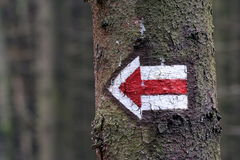 Left arrow. Red left arrow painted on a tree Stock Photos