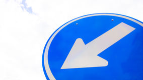 Left Arrow traffic sign with the sky Royalty Free Stock Images