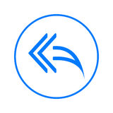 Left arrows, Reply to all circular line icon. Round colorful sign. Flat style vector symbol. Royalty Free Stock Photo