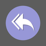 Left arrows, Reply to all flat icon. Round colorful button, circular vector sign with shadow effect. Flat style design. Stock Photos