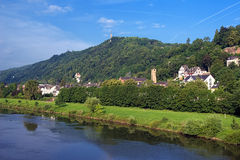 The left bank of the Moselle River in Trier. Trier, the left bank of the Moselle River with the St. Mary's Column on the Markusberg Mount, Germany Stock Image