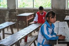 Students in Guizhou mountain region Stock Photos