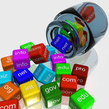 Left Coloured Dice Shows WWW Stock Photo