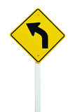 Left direction traffic sign isolated. On white background royalty free stock photos