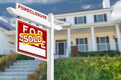 Left Facing Foreclosure Sold For Sale Real Estate Sign royalty free stock images