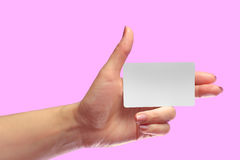 Left Female Hand Hold Blank White Card Mock-up. SIM Cellular Royalty Free Stock Images