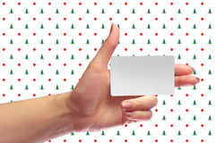 Left Female Hand Hold Blank White Card Mock-up. SIM Christmas Gift. Loyalty Shop Card. Plastic Transport Ticket. Transponder NFC Stock Photos