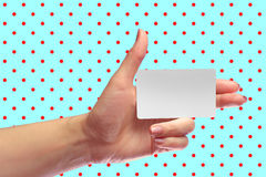 Left Female Hand Hold Blank White Card Mock-up. SIM Christmas Gift. Loyalty Shop Card. Plastic Transport Ticket. Transponder NFC Royalty Free Stock Photo