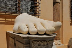 Left foot of Roman Emperor Constantine, Rome. Italy Stock Photos