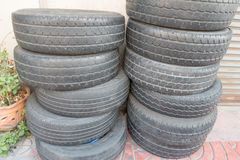 The left front tire pile . The left front tire pile in bangkok royalty free stock photo