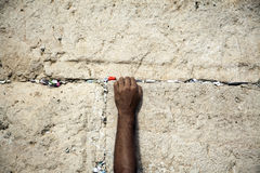 Making a Wish at the Wailing Wall Royalty Free Stock Photo