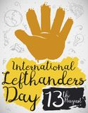 Painted Hand with Doodles to Celebrate International Left Handers Day, Vector Illustration. Left hand in brush stroke style over a background with doodles royalty free illustration