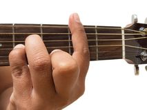 Left hand gesture `chord BM` guitar chord finger position in close up isolated on white background. A male Left hand gesture `chord BM` guitar chord finger Royalty Free Stock Photography